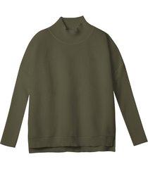 turtleneck-pullover van bio-katoen, olijfgroen 36/38