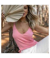 blusa regata dália rosa claro