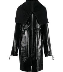 bottega veneta rib-knit funnel neck coat - black