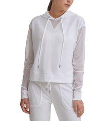dkny sport mesh-sleeve hoodie