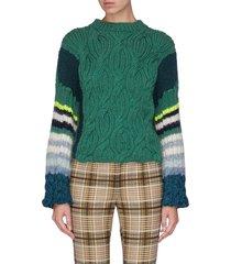 colourblack stripe cable knit cashmere sweater