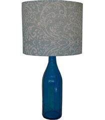 abajur base garrafa vidro e cúpula arabescos azul e branco