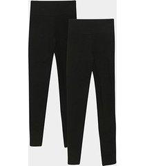 kit 2 calças legging básicos k020 feminina
