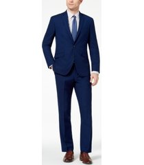 kenneth cole reaction men's big and tall techni-cole slim-fit stretch modern blue solid suit