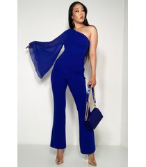 akira just my type one shoulder jumpsuit