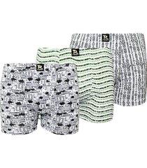 kit com 3 cuecas boxer linha noite estampada