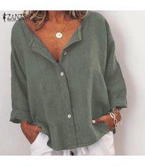 zanzea mujeres ocasionales flojas de la manga 3/4 cuello en v botones tops camisas de la blusa del tamaño extra grande -ejercito verde