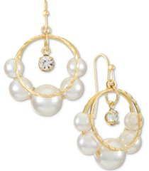 alfani gold-tone crystal charm & imitation pearl split hoop drop earrings, created for macy's