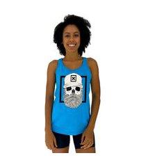 regata feminina alto conceito caveira lenhador azul piscina
