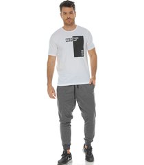 camiseta manga corta cuello redondo blanco racketball para hombre