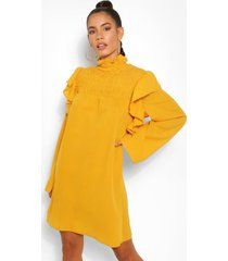 jurk met ruches en hoge hals, mosterd