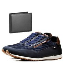 sapatênis casual com carteira dubuy 1100la azul
