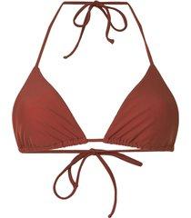 matteau string triangle bikini top - brown