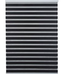 persiana rolo em poliéster zebra 140x160cm preta