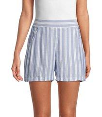 max studio women's striped shorts - blue white - size xl