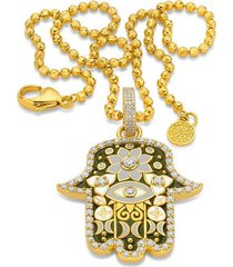 medium army green hamsa pendant