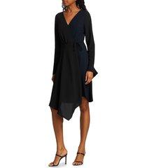 bailey 44 women's handkerchief wrap dress - black blue - size 6