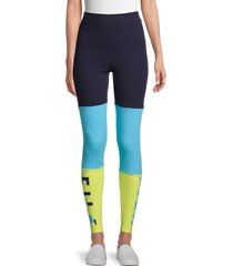 fila women's colorblock stretch-cotton leggings - blue multi - size xs