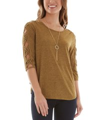 bcx juniors' lattice-trimmed top with necklace