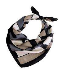 lenço seda estampa geométrica médio feminino
