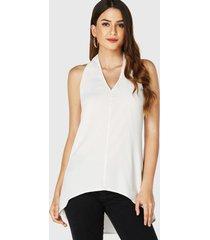 camiseta de tirantes de gasa con diseño sin espalda con cuello halter blanco yoins