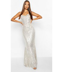 all over embellished fishtail maxi dress, silver