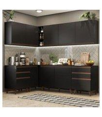 cozinha completa de canto madesa reims 382002 com armário e balcão preto preto