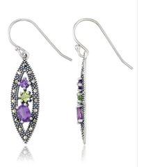 amethyst (1-1/5 ct. t.w.) & peridot (1/3 ct. t.w.) marcasite earrings in sterling silver