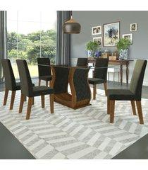 mesa de jantar 6 lugares rayza cedro/camurça - viero móveis