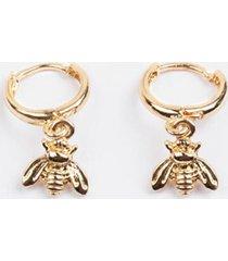 akeela bee charm huggie hoops - gold