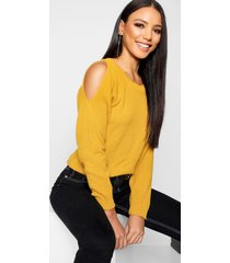 cold shoulder moss stitch sweater, mustard