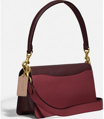 coach new york women's colorblock tabby shoulder bag 26 - wine multi