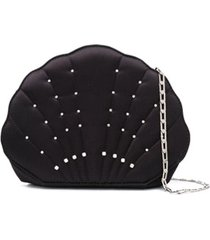 les petits joueurs crystal-embellished shell clutch - preto