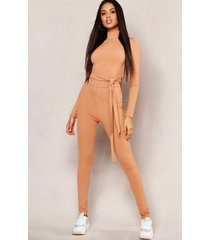 basic jumbo ribbed high waisted leggings, camel