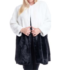 fever plus size colorblocked faux-fur coat