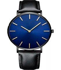 reloj ultra delgado correa negro fondo azul marco negro