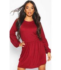 petite volume sleeve smock dress, berry