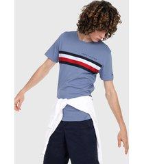 camiseta azul-multicolor tommy hilfiger