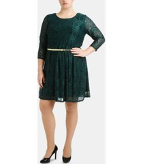 ny collection plus size lace overlay dress with belt