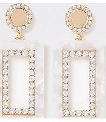 river island womens cream rectangle dandle earrings