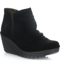 women's fly london yamy wedge bootie, size 5.5us - black