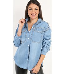 camisa de jeans denim celeste night concept
