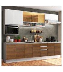 cozinha completa madesa genova com armário e balcão (sem tampo e pia) branco/rustic/branco branco/rustic/branco
