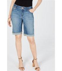 inc curvy-fit contrast-trim cuffed denim shorts, created for macy's