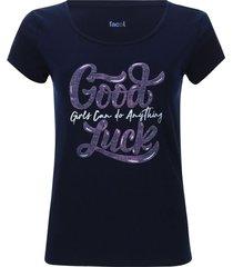 camiseta descanso good luck color azul, talla s