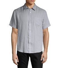 short-sleeve linen button-down shirt
