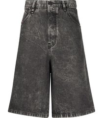 diesel wide-leg denim shorts - grey