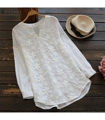 zanzea mujeres más el tamaño de manga larga suéter superior camiseta floral túnica de la blusa -blanco