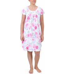 miss elaine floral-print short-sleeve nightgown