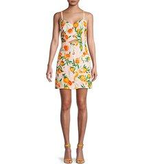 floral-print linen mini dress
